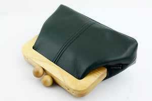 Emerald Green Genuine Leather Clutch Bag with Strap | PINKOASIS