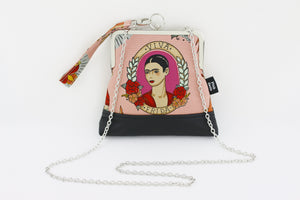 Frida Kahlo & Flower Wristlet with Chain | PINKOASIS