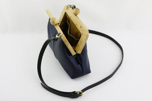 Women's Navy Genuine Leather Clutch Bag with Strap | PINKOASIS