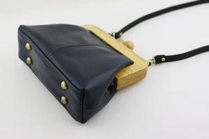 Midnight Blue Genuine Leather Clutch Bag with Strap | PINKOASIS