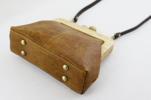 Distressed Tan Genuine Leather Clutch Bag with Strap | PINKOASIS