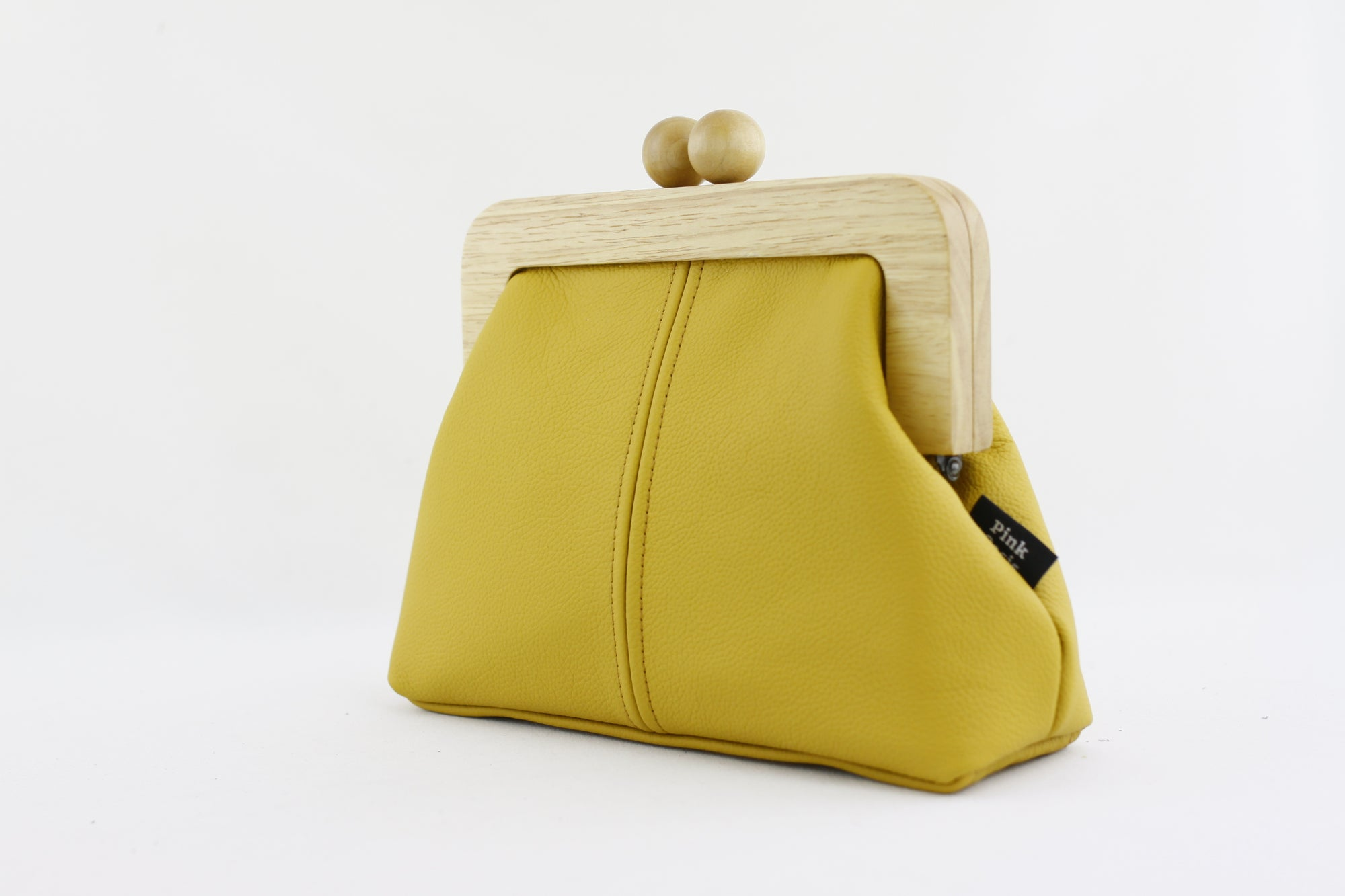 Mustard Genuine Leather Clutch Bag with Leather Strap | PINKOASIS