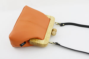 Women's Peach Genuine Leather Clutch Bag with Strap | PINKOASIS