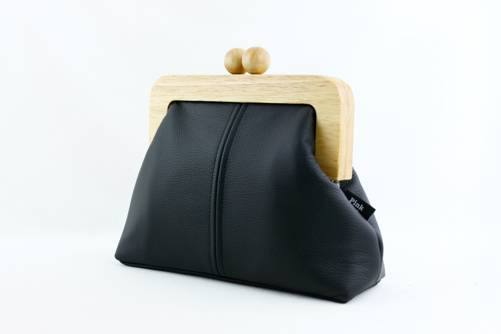 Women's Black Genuine Leather Clutch Bag with Strap | PINKOASIS