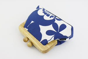 Blue and White Hibiscus Flower Clutch Bag | PINKOASIS
