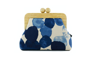 Blue Watercolor Wood Frame Clutch Bag | PINKOASIS