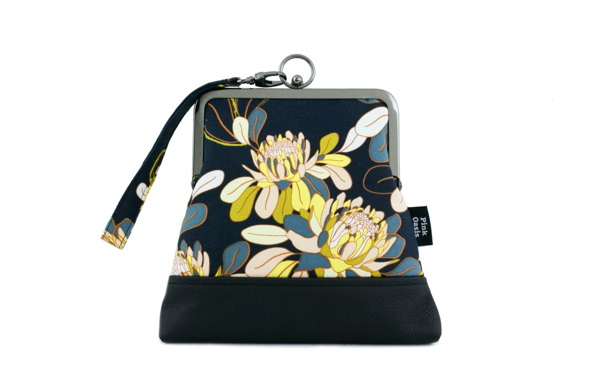 Ginger Utopia Navy Flower Wristlet Bag | PINKOASIS