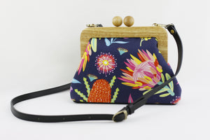 Australian Native Flowers Navy Clutch Bag | PINKOASIS