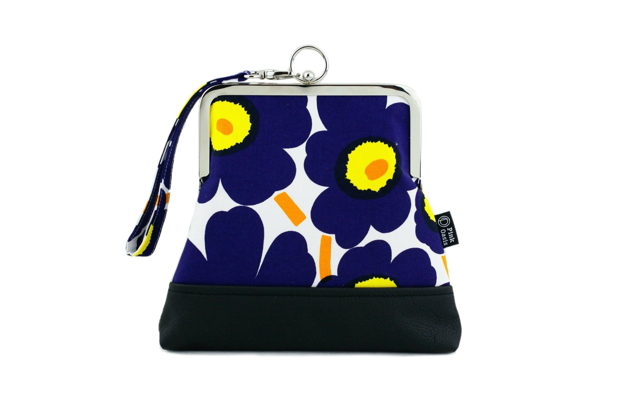 Unikko Poppy Dark Blue & Yellow Wristlet | PINKOASIS