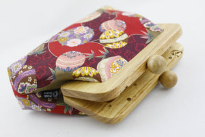 Oriental Flowers Red Small Wooden Frame Clutch Bag | PINKOASIS