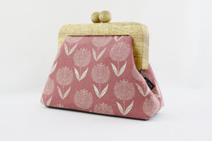 Pink Tulips Small Wooden Frame Clutch Bag | PINKOASIS