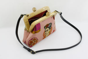 Boho Frida Kahlo Clutch Bag with Leather Strap | PINKOASIS