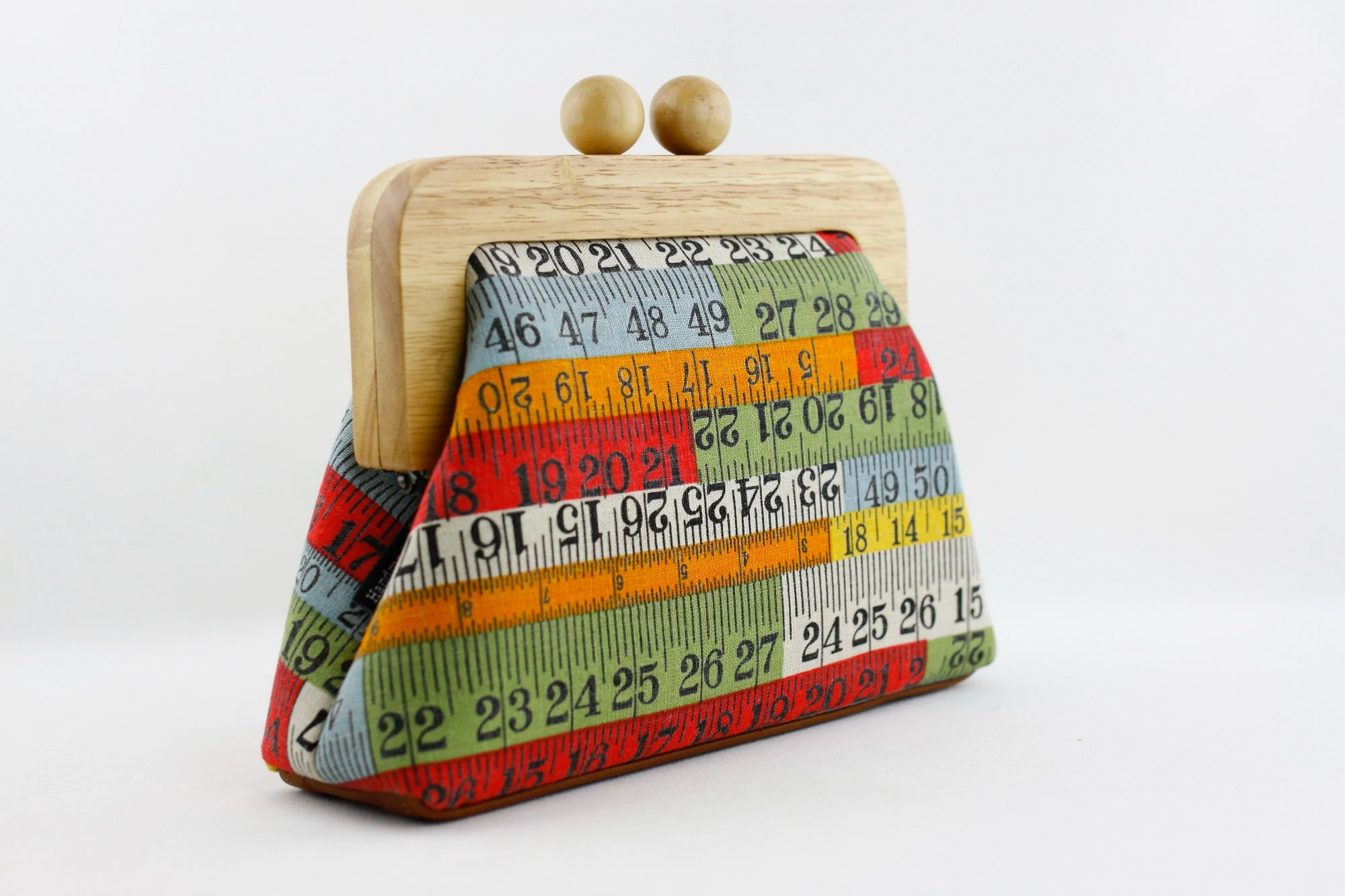 Retro Measuring Tapes Clutch with Leather Strap | PINKOASIS