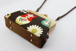 Matryoshka Doll Wooden Frame Bag with Leather Strap | PINKOASIS
