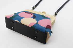 Retro Pink & Blue Peach Wood Frame Clutch | PINKOASIS