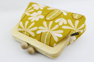 Mustard Banksia Small Wood Frame Clutch | PINKOASIS