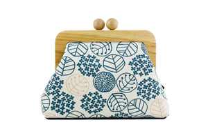 Japanese Garden Leave Pattern Wood Frame Clutch | PINKOASIS