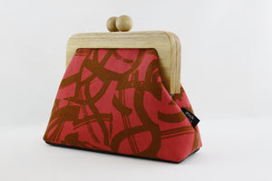 Brush Paint Red Clutch Bag with Leather Strap | PINKOASIS