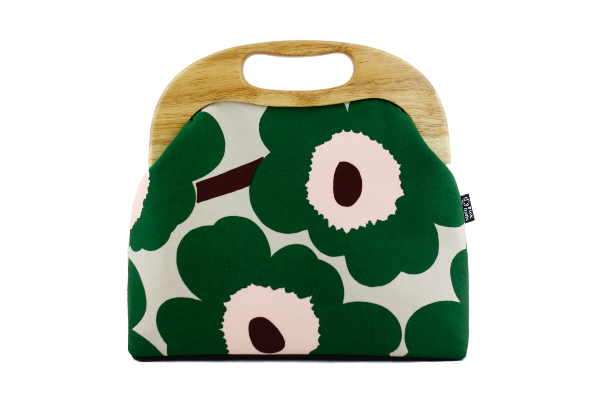 Marimekko Unikko Poppy Green Handbag with Leather Strap | PINKOASIS