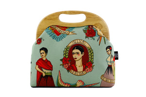 Boho Frida Kahlo Mint Blue Wood Frame Bag for Lady | PINKOASIS