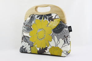 Mustard Tropical Flower Ladies Bag Handmade in Australia | PINKOASIS
