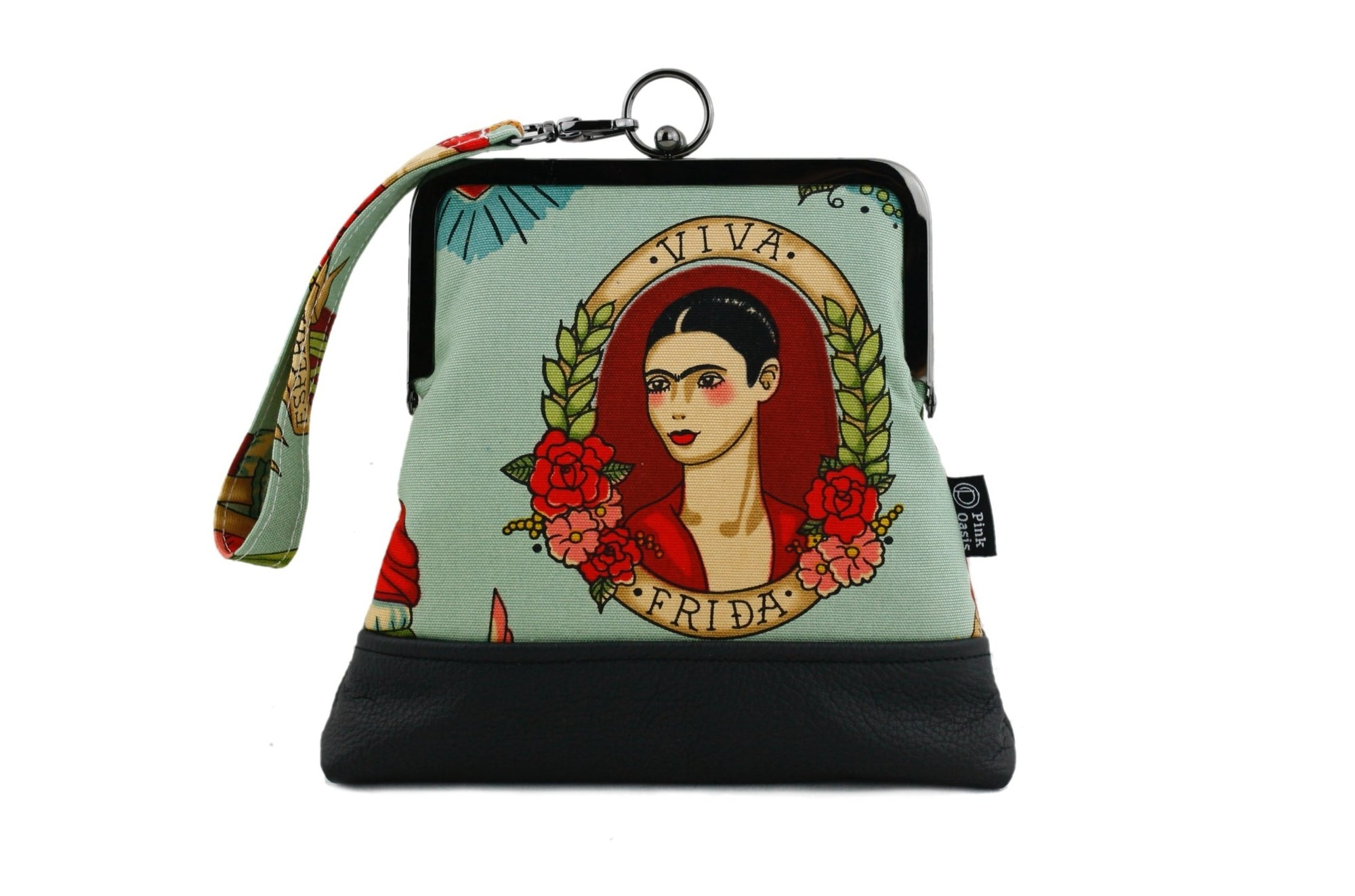 Frida Kahlo Wristlet Bag with Chain Strap | PINKOASIS