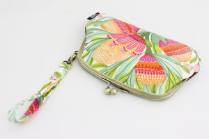 Gum Blossoms Wristlet Wallet with 2 Kisslock Clasps | PINKOASIS