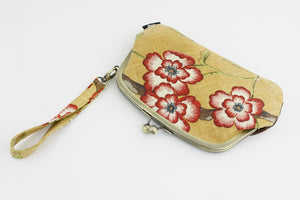 Rustic Flowers Wristlet Wallet with 2 Kisslock Clasps | PINKOASIS
