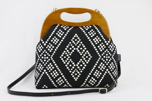 Black & White Dotted Pattern Oversized Clutch Bag
