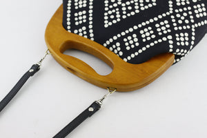 Black & White Dotted Pattern Oversized Clutch Bag  | PINKOASIS
