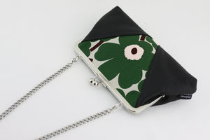 Unikko Poppy Green Kisslock Clutch & Crossbody Bag | PINKOASIS