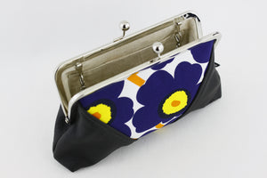 Unikko Poppy Blue Kisslock Clutch & Crossbody Bag | PINKOASIS