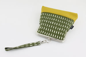 Green & Yellow Abstract Pattern Wristlet  | PINKOASIS