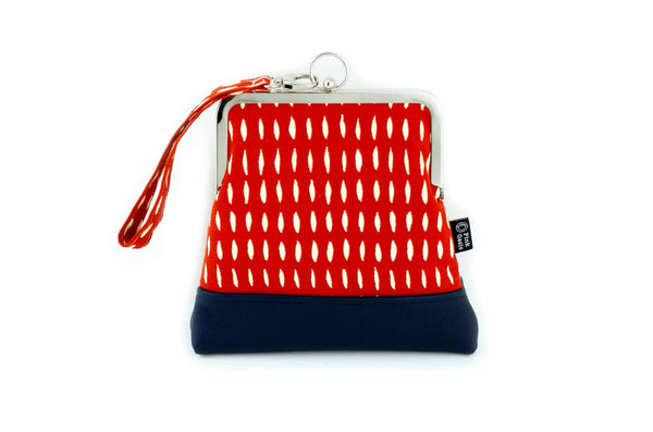 Red & Navy Abstract Pattern Wristlet  | PINKOASIS