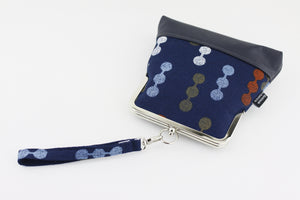 Navy Blue and Colorful Dots Wristlet  | PINKOASIS