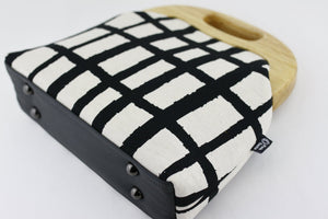 Natural Black Checkered Pattern Oversized Clutch Bag  | PINKOASIS