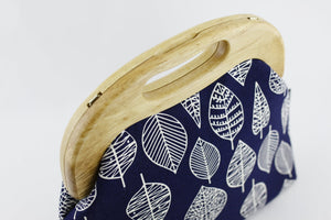 Navy & White Leaves Oversized Clutch Bag  | PINKOASIS