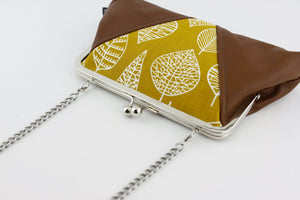 Mustard & White Leaves Pattern Kisslock Clutch  | PINKOASIS