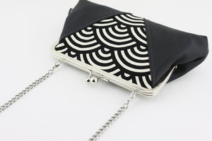 Seigaiha Black Sea Waves Kisslock Clutch  | PINKOASIS