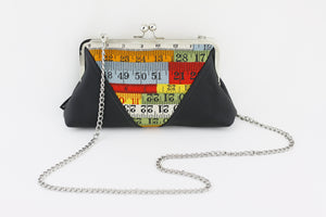 Retro Colorful Measuring Tape Kisslock Clutch  | PINKOASIS