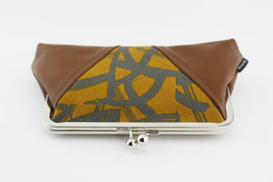 Brush Paint Mustard Kisslock Clutch  | PINKOASIS