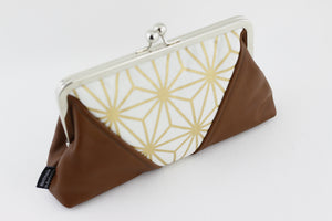 Gold Sashiko Pattern Kisslock Clutch  | PINKOASIS