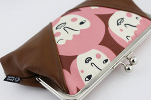 Funny Girl Faces Pink Kisslock Clutch  | PINKOASIS