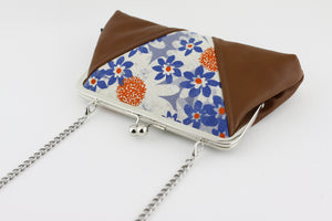 Blue & Orange Flowers Kisslock Clutch  | PINKOASIS