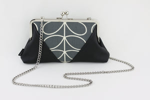 Dark Grey Leaf Pattern Kisslock Clutch  | PINKOASIS