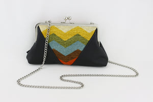 Retro Chevron Colorful Kisslock Clutch  | PINKOASIS