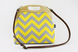 Yellow & Grey Chevron Oversized Clutch Bag  | PINKOASIS
