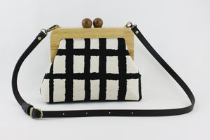 Black Checkered Pattern Clutch  | PINKOASIS