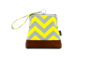 Yellow & Grey Chevron Zigzag Wristlet  | PINKOASIS
