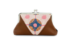 Abstract Circle Flowers Kisslock Clutch